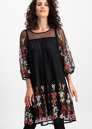 robe de coralie , night floral tulle, Woven Dresses, Schwarz