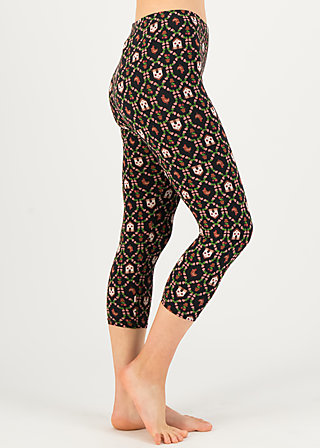 3/4 Leggings capri cottage, cottage chicken love, Schwarz