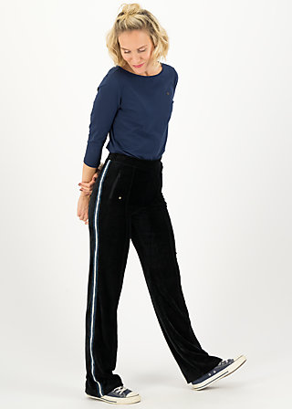 lucky star trek pants, black eyeshadow, Trousers, Black