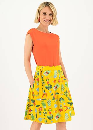 A-line Skirt bonjour le jardin, let love grow, Skirts, Yellow