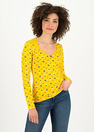 Longsleeve criss cross heart, cherry picknick, Shirts, Yellow
