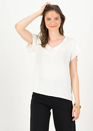Short Sleeve Blouse feed the birds, white blossom , Blouses & Tunics, White