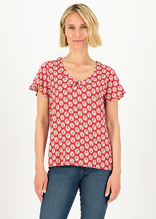 Short Sleeve Blouse feed the birds, ticket to joy, Blouses & Tunics, Red