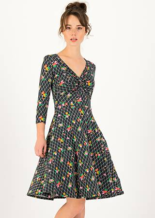 Summer Dress hot knot  3/4 arm, grid of flowers, Dresses, Black