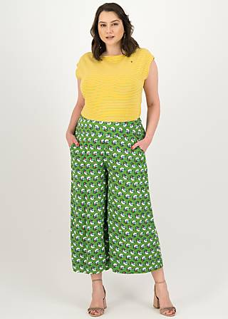 Culottes in fully bloom, sing into spring, Trousers, Green