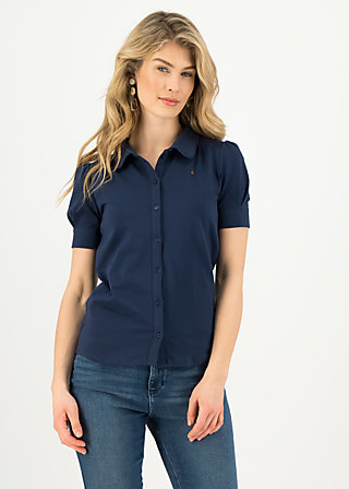 logo blouse, pure blue, Shirts, Blue