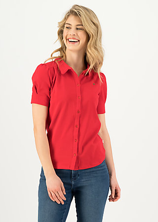 logo blouse, strong red, Shirts, Red