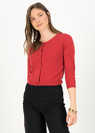 logo cardigan roundneck short, red anchor ahoi, Cardigans & leichte Jacken, Rot