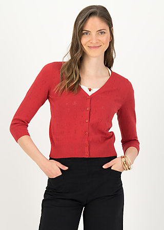 logo cardigan v-neck 3/4 arm, red anchor ahoi, Cardigans & leichte Jacken, Rot