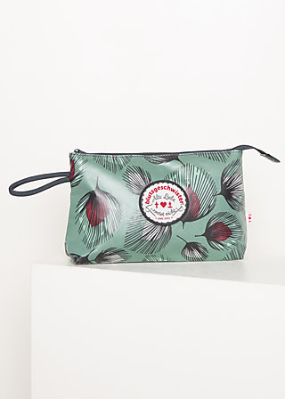 Kosmetiktasche long love washbag, falling leaves, Accessoires, Grün