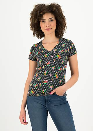 T-Shirt sunshine camp, grid of flowers, Shirts, Black