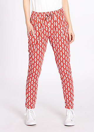 central park picknick pants, retro roses, Stoffhosen, Orange