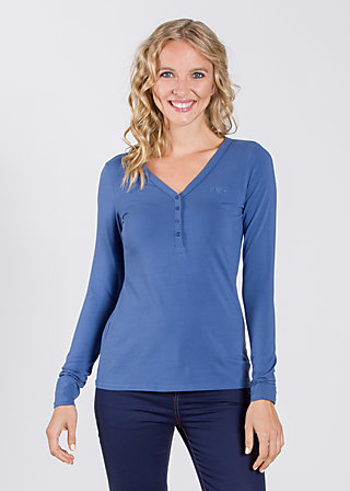logo roundneck ls-shirt, blue flower, Shirts, Blau