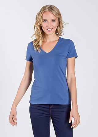 logo shortsleeve v-shirt, blue flower, Shirts, Blau