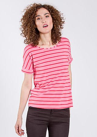 logo tshirt grown-on sleeves, pink stripes, Shirts, Rosa