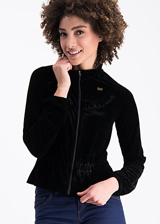 flying carpet jacket, black velvet, Zipperjacken, Schwarz