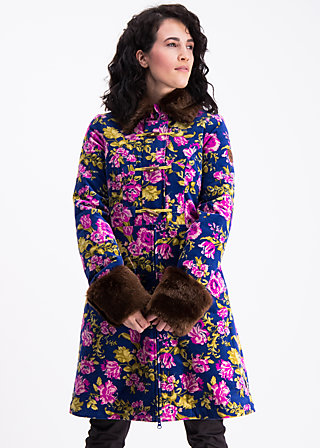 velvet garden coat , persian poppy, Coats, Blau