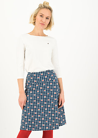 Knee Length Skirt ahoi plate, picking apple, Skirts, Blue