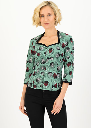 Cotton Blouse forest lady, falling leaves, Blouses & Tunics, Green