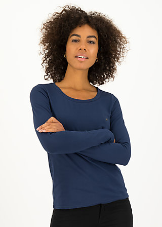 logo round neck langarm welle , just me in blue, Shirts, Blau