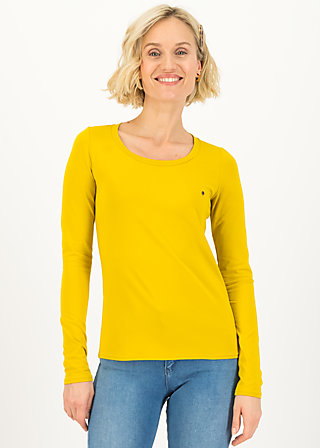 logo round neck langarm welle , just me in yellow, Shirts, Gelb