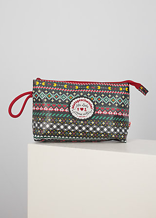 long love washbag, super pixel bordure, Accessoires, Schwarz