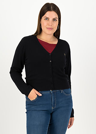 save the world cardy, black solid, Pullover & leichte Jacken, Schwarz