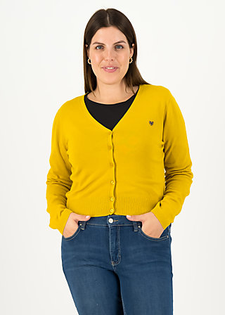 Cardigan save the world, yellow solid, Cardigans & leichte Jacken, Gelb