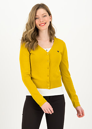 save the world cardy, yellow solid, Pullover & leichte Jacken, Gelb