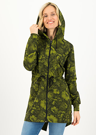 Sweatjacke strong girl next door, wildwood flowers, Zipperjacken, Grün