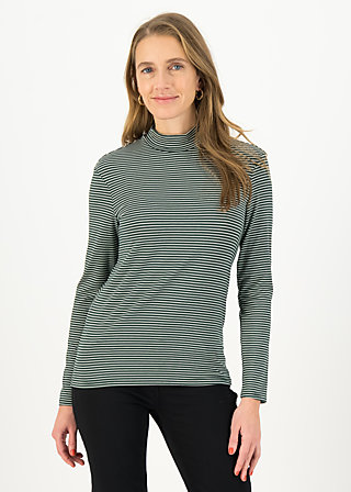 Longsleeve lonely lips turtle , deep forest stripes, Shirts, Green