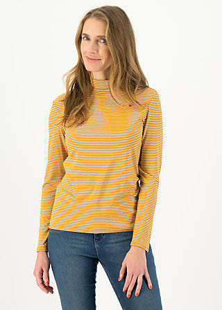 Longsleeve lonely lips turtle , soft golden stripes, Shirts, Yellow