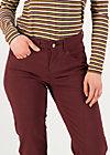 Hüfthose mid waist slim 5-pocket, burgundy wine, Hosen, Rot