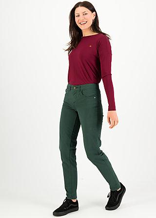 Hüfthose mid waist slim 5-pocket, forest green , Hosen, Grün