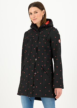 Soft Shell Parka wild weather long anorak, ladybug friends, Jackets & Coats, Black