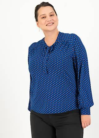 Tie Neck Blouse l'odelette pour helma, pom poms, Blouses & Tunics, Blue