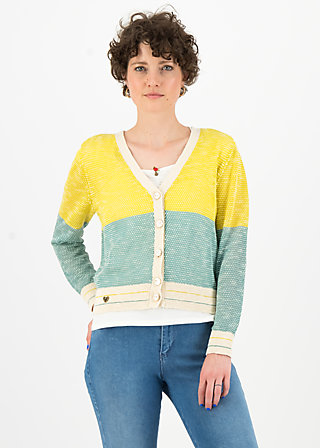 Cardigan avec plaisir, sporty blue yellow, Cardigans & leichte Jacken, Türkis