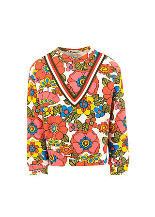 Sweatshirt hippie hipster, shower flower, Weiß