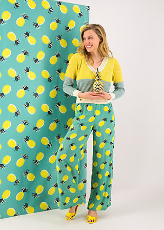 lady flatterby pants, pineapple party, Trousers, Turquoise