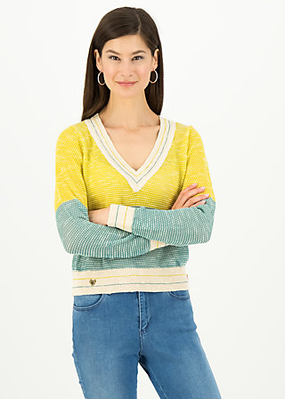 savoir vivre pull over, sporty blue yellow, Pullover & leichte Jacken, Türkis