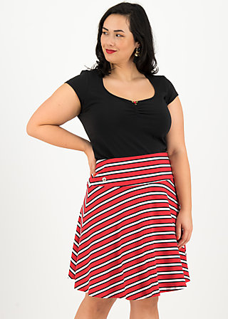 A-line Skirt vive l'amour, les stripes, Skirts, Red