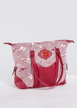 travel fever carpetbag, fly birdy stripe, Shopper & Rucksäcke, Rot