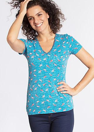 luau kalamuku shirt, flamingo bingo, Kurzarm, Blau