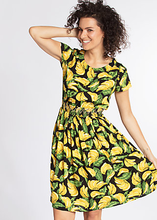 senhorita frida folk dress, bold banana, Woven Dresses, Schwarz