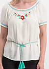 bees and birds blouse, icecream crepe, Blusen & Tuniken, Weiß