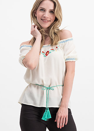 bees and birds blouse, icecream crepe, Blouses & Tunics, White