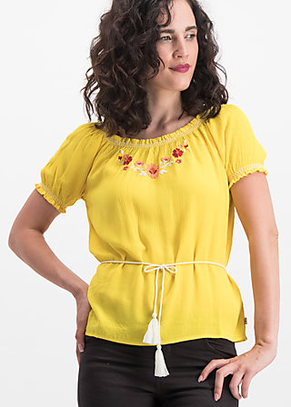 bees and birds blouse, sunflower crepe, Blouses & Tunics, Yellow