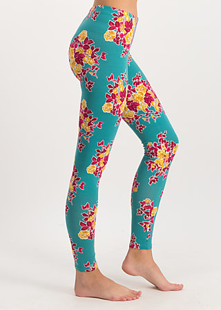 ladylaune legs, super retro bouquet, Leggings, Turquoise