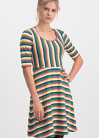 logo breton dress, rainbow stripes, Dresses, Blue