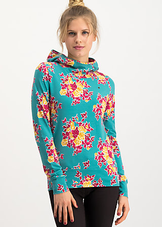 riders in the universe hood, super retro bouquet, Pullover & leichte Jacken, Türkis
